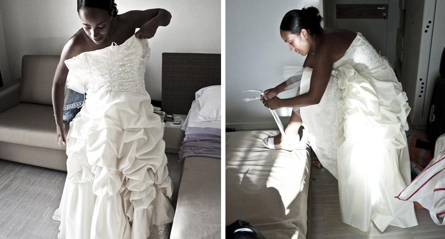 la sposa indossa il suo abito nuziale