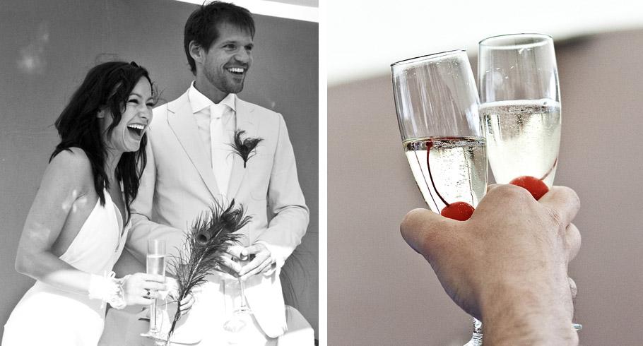 calici di chanmpagne con ciliege per il matrimonio